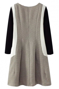 Gray Womens Patchwork Chic Polka Dot Zipper Unique Dress