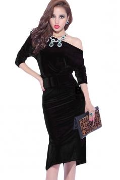 Black Velvet Slit Off Shoulder Sexy Womens Slim Midi Dress