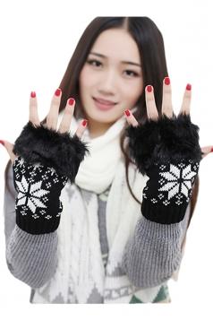 Black Ladies Mitten Snowflake Fur Knitted Winter Short Gloves