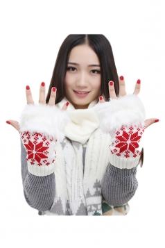 White Ladies Mitten Snowflake Fur Knitted Winter Short Gloves