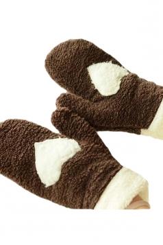 Coffee Mitten Velvet Heart Patterned Thick Short Winter Gloves