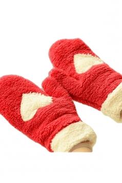 Red Mitten Velvet Heart Patterned Thick Short Winter Gloves