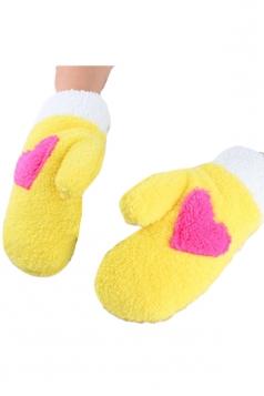 Yellow Mitten Velvet Heart Patterned Thick Short Winter Gloves