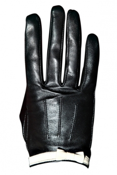 Black Pretty Womens Bow Warm Winter Short Leather Gloves