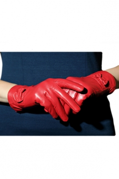 Red Pretty Ladies Bow Short Winter Warm Leather Gloves