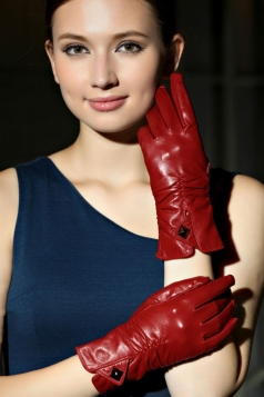Red Trendy Ladies Leather Warm Winter Short Gloves