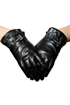 Black Womens Ruffle Bow Winter Warm Short Leather Gloves