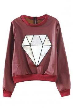 Ruby Modern Ladies Crew Neck Pullover Diamond Leather Sweatshirt