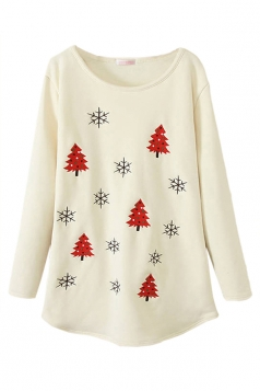 Beige Womens Christmas Trees Printed Lined Jumper Sweatshirt