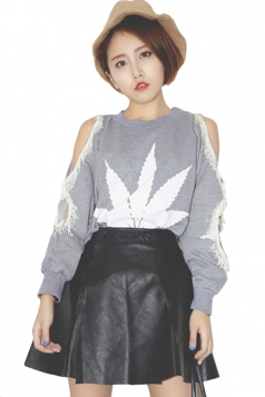 Gray Cut Out Womens Sexy Crew Neck Tassel Pullover Sweatshirt