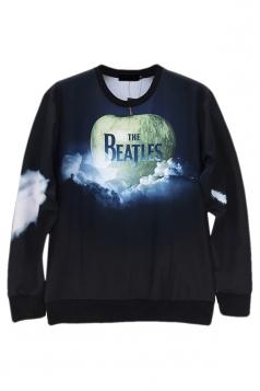 Black Jumper Crew Neck The Beatles Apple Printed Sweatshirt
