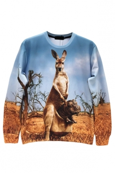 Yellow Womens Crew Neck Jumper Kangaroo Hippo Printed Sweatshirt
