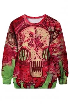 Womens Pullover Crew Neck Robot Printed Halloween Sweatshirt Red