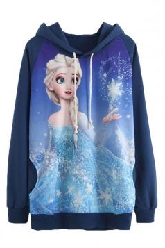 Navy Blue Fancy Frozen Elsa Printed Pullover Womens Hoodie