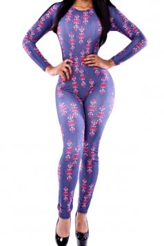 Navy Blue Womens Sexy Casual Flowers Slim Sexy Bodysuit