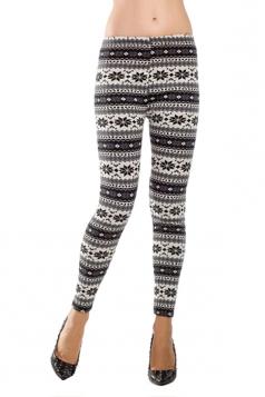 Gray Womens Christmas Warm Snowflake Pattern Sweater Leggings