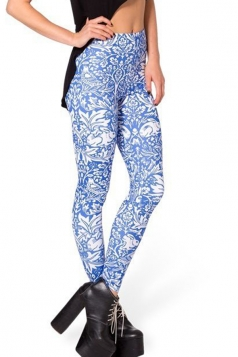Blue Pretty Ladies Fit Skinny Printed Floral Leggings