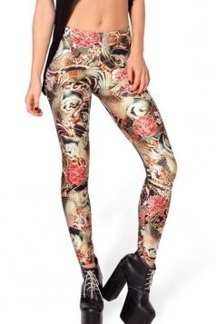 Brown Stylish Womens Sliming Printed Floral Leggings