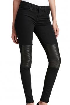 Black Tight Ladies PU Patchwork Leather Leggings
