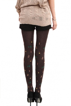 Coffee Womens Cotton Christmas Cute Lined Thick Tights
