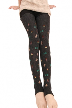 Gray Womens Cotton Christmas Cute Lined Thick Tights