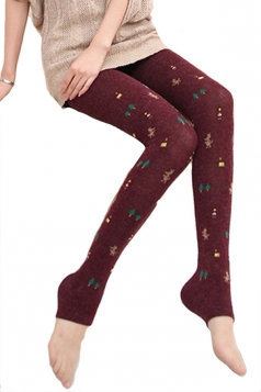 Ruby Womens Cotton Christmas Cute Lined Thick Tights