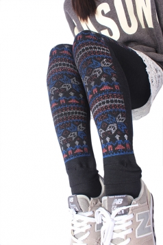 Black Womens Lined Cute Snowflake Christmas Tights