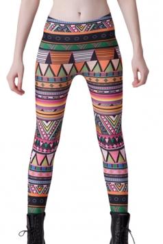 Orange Womens Colorful Triangle Strip Printed Geometric Leggings
