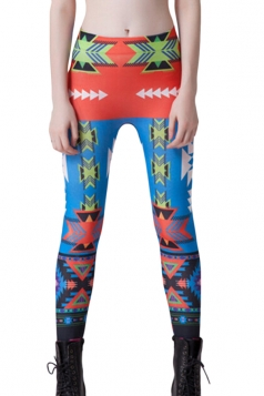 Blue Womens Colorful Triangle Arrow Printed Geometric Leggings