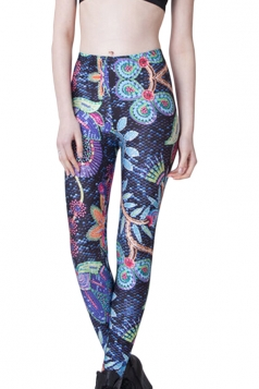 Blue Fashion Womens Colorful Flower Printed Fit Floral Leggings