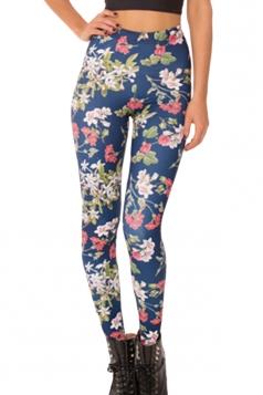 Navy Blue Elegant Ladies Sliming Floral Leggings