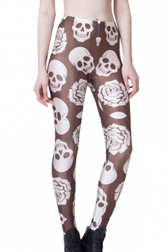 Coffee Pretty Ladies Skull Rose Printed Skeleton Leggings