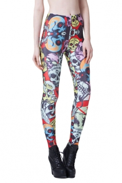 Black Punk Womens Colorful Skull Printed Skeleton Leggings