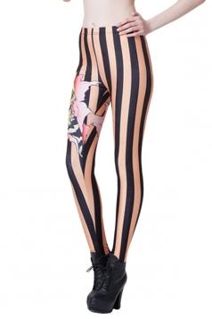 Orange Modern Womens Cartoon Tiger Printed Striped Leggings