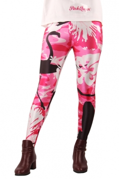 Rose Red Sexy Womens Swan Flower Printed Unique Design Leggings