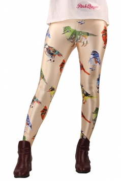 Beige Bird in Uniform Printed Tights Unique Design Leggings