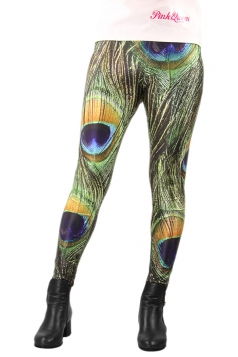 Green Peacock Feather Printed Tights Unique Design Leggings