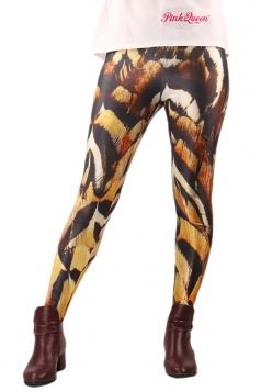 Brown Ladies Owl Feather Printed Tights Unique Design Leggings