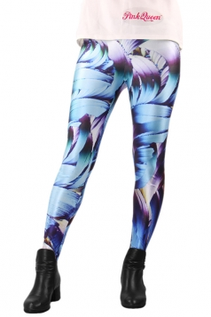 Blue Chic Womens Feather 3D Printed Tights Unique Design Leggings