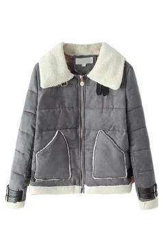 Gray Sexy Ladies Patchwork Turndown Collar Warm Suede Coat