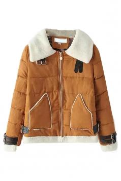 Khaki Sexy Ladies Patchwork Turndown Collar Warm Suede Coat