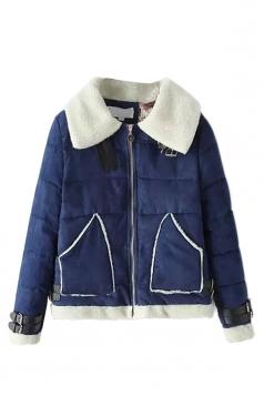 Navy Blue Sexy Ladies Patchwork Turndown Collar Warm Suede Coat