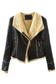 Black Charming Ladies Camofleece Cowl Neck Leather Jacket