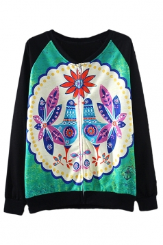 Black Chic Womens Peacock Printed Crew Neck Zip Sweatshirt Jacket
