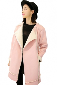 Pink Fashion Womens Fancy Lapel Warm Suede Over Coat
