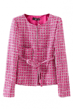 Rose Red Chic Ladies Crew Neck Plaid Tiebelt Blazer