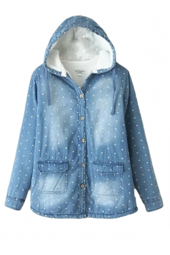 Blue Womens Polka Dot Cute Hooded Denim Cotton Coat