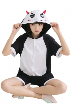 Black Ladies Jumpsuit Devil Cotton Romper Pajamas Animal Costume