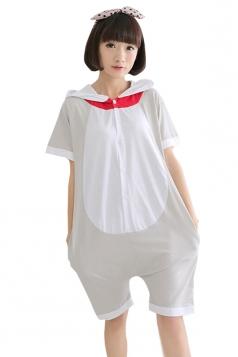 Gray Trendy Ladies Romper Cotton Cat Pajamas Animal Costume