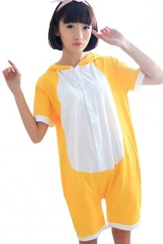 Yellow Fashion Womens Bear Romper Cotton Pajamas Animal Costume